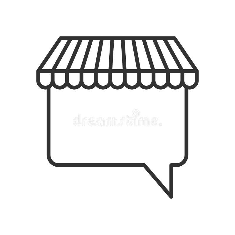 Icono plano del esquema de la burbuja del discurso del toldo ilustración del vector