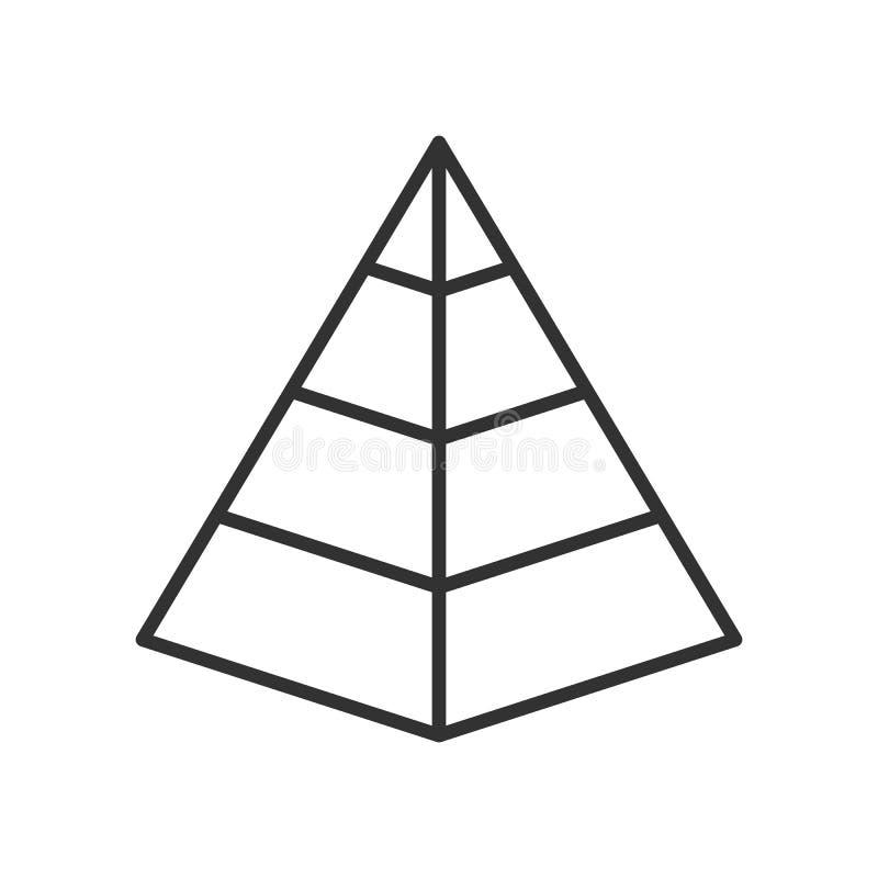 Icono plano del esquema de la carta de la pirámide en blanco stock de ilustración