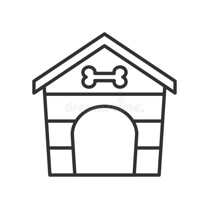 Icono plano del esquema de la casa de perro casero en blanco stock de ilustración