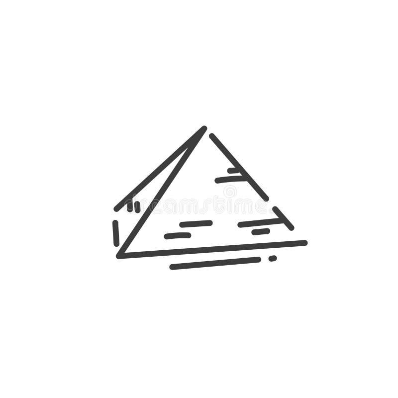 Icono plano del esquema de la pirámide de Egipto, silueta del concepto libre illustration