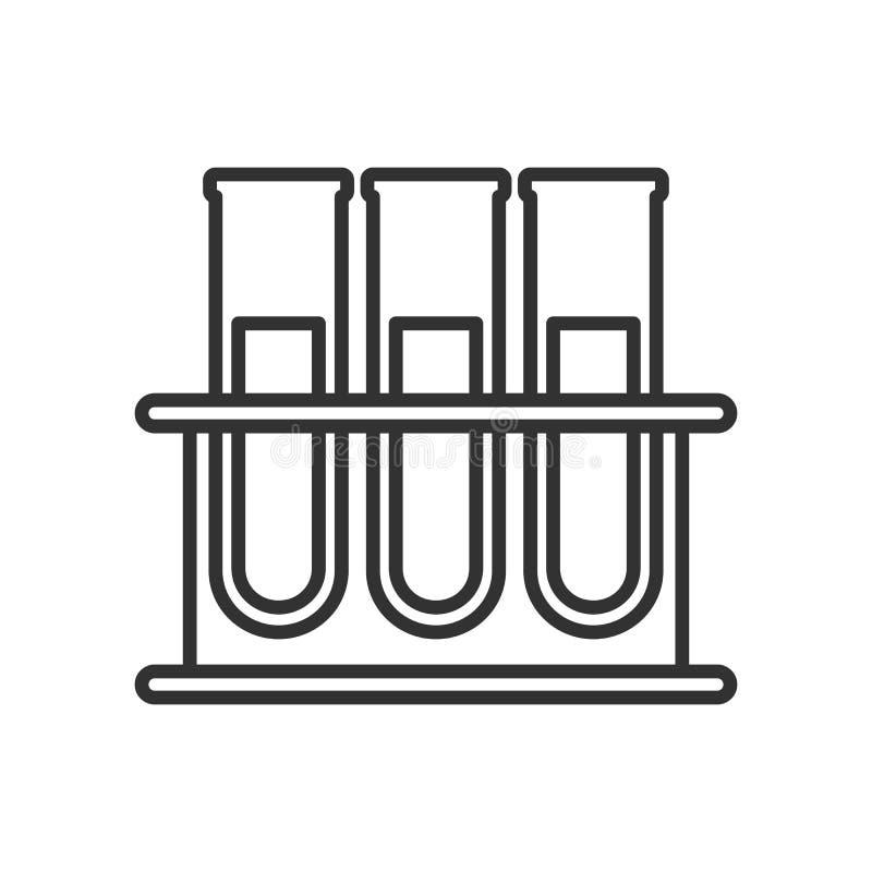 Icono plano del esquema de los frascos del análisis de sangre en blanco stock de ilustración