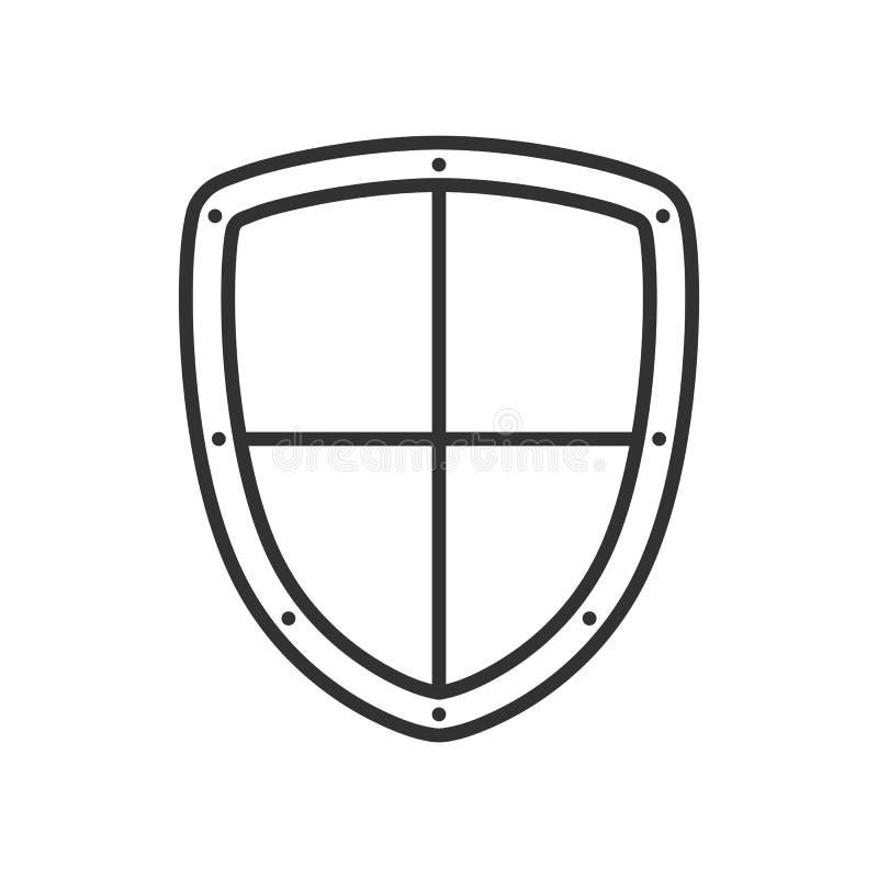 Icono plano del esquema del escudo de la seguridad en blanco ilustración del vector
