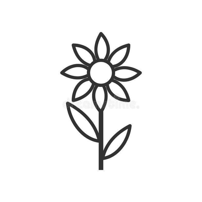 Icono plano del esquema genérico de la flor en blanco ilustración del vector