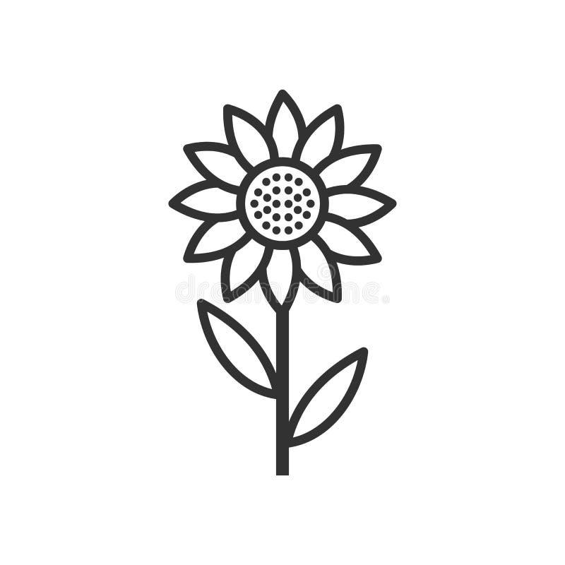 Icono plano del esquema del girasol en blanco ilustración del vector