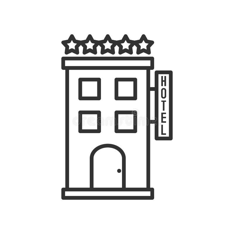Icono plano del esquema del hotel de cinco estrellas en blanco ilustración del vector