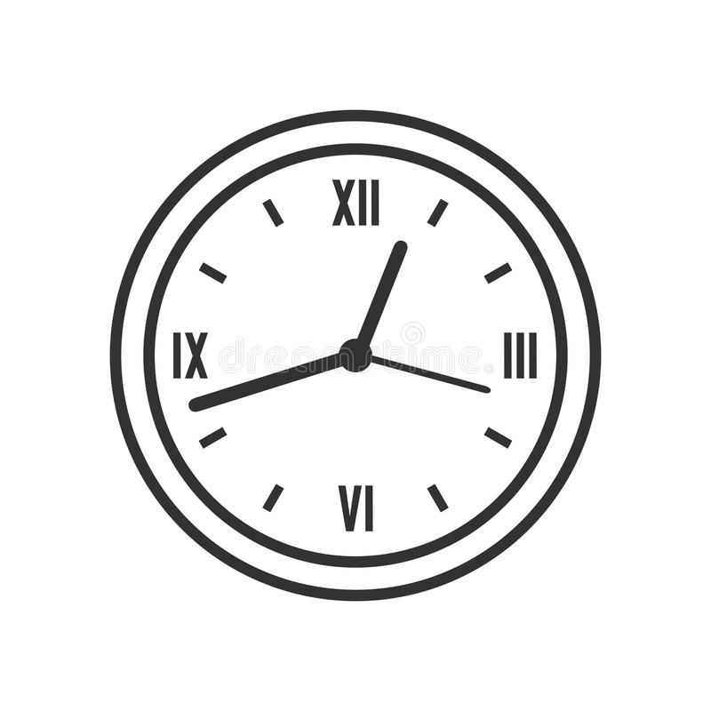 Icono plano del esquema redondo del reloj de la pared en blanco ilustración del vector