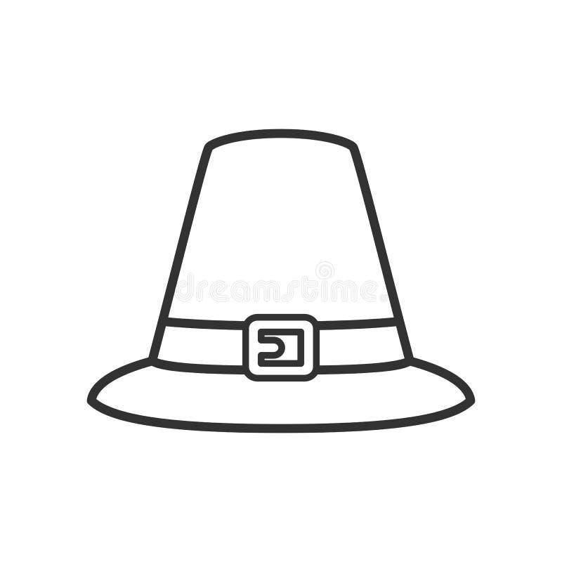 Icono plano del esquema del sombrero de la acción de gracias en blanco stock de ilustración