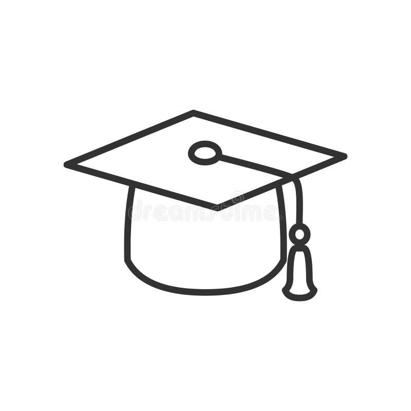 Icono plano del esquema del sombrero de la graduación en blanco stock de ilustración