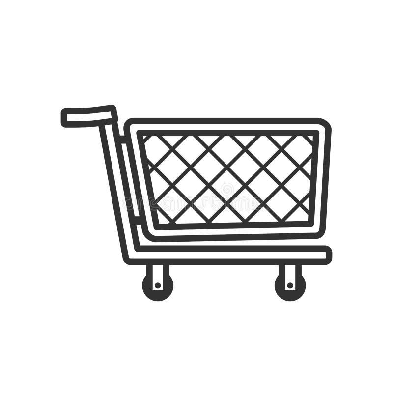 Icono plano del esquema vacío del carro de la compra ilustración del vector