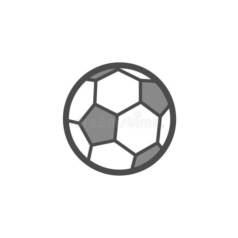 Icono plano del esquema del vector del balón de fútbol ilustración del vector