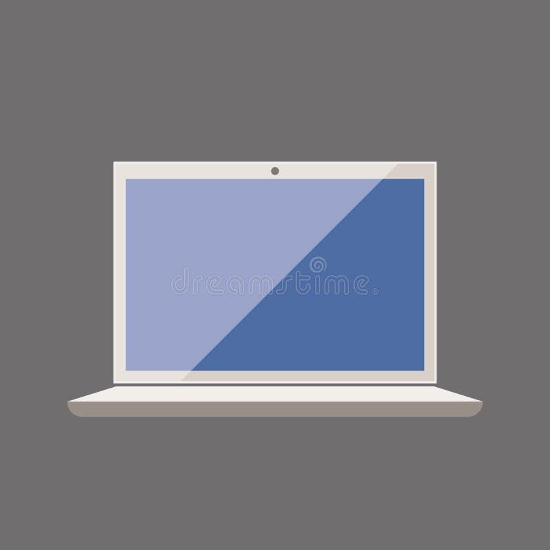 Icono plano del estilo del cuaderno del ordenador portátil en el vector gris eps10 del fondo Vector del ordenador portátil del or ilustración del vector