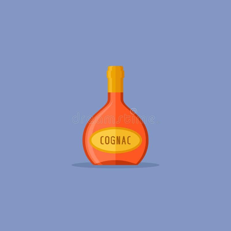 Icono plano del estilo de la botella del coñac Ilustración del vector ilustración del vector