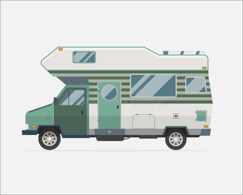 Icono plano del estilo del camión del viajero de la familia del remolque que acampa ilustración del vector
