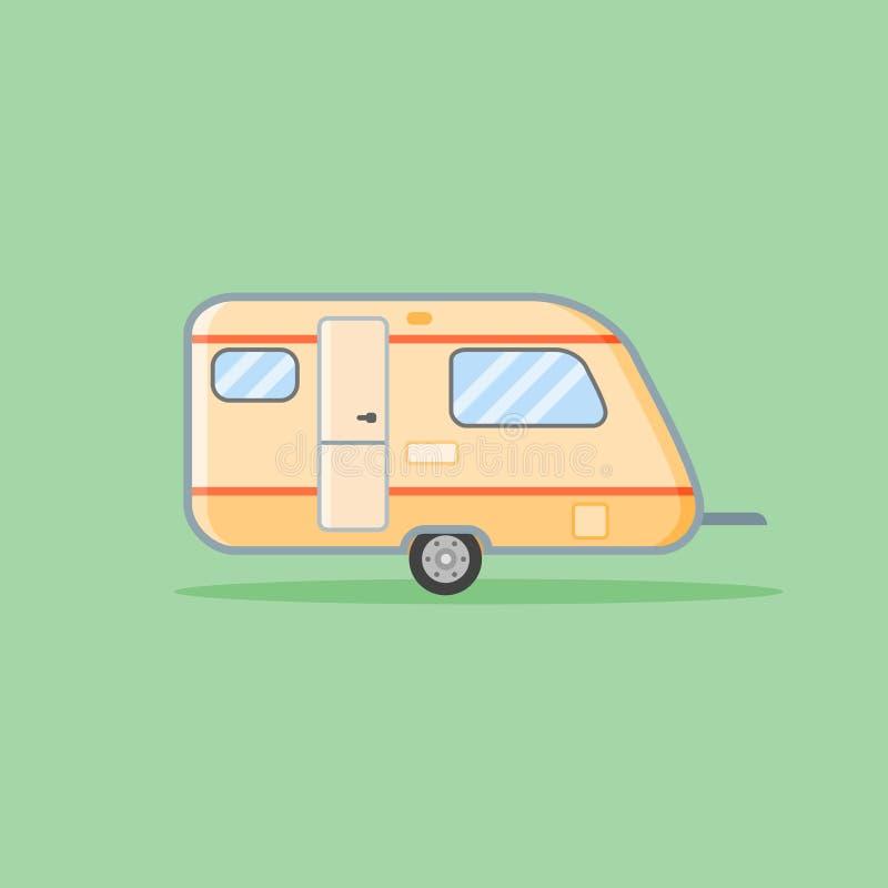 Icono plano del estilo del remolque de campista Ejemplo del vector de la caravana libre illustration