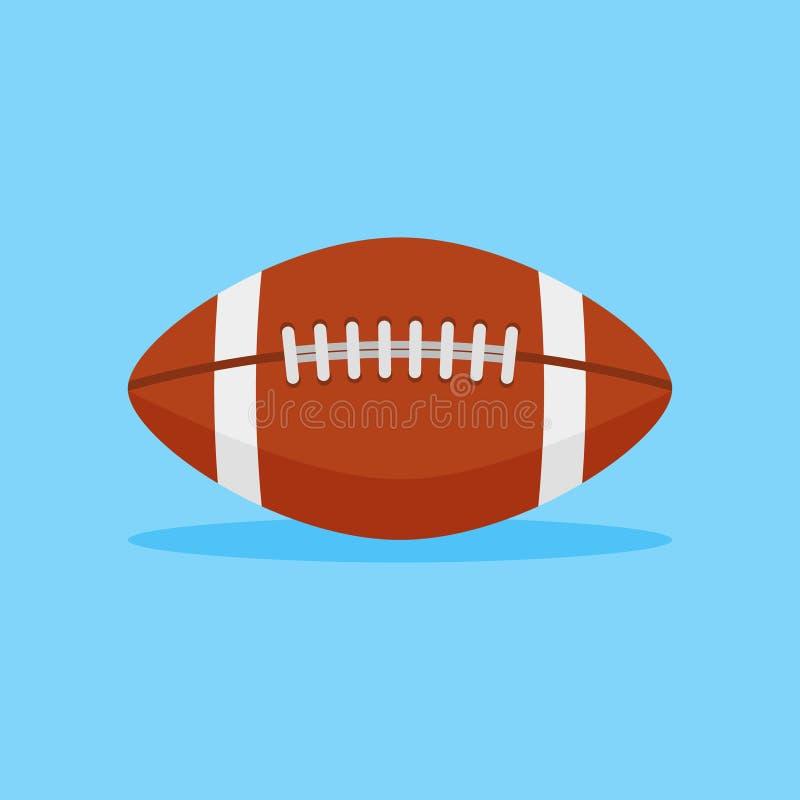 Icono plano del estilo del fútbol americano Ejemplo del vector de la bola de rugbi stock de ilustración