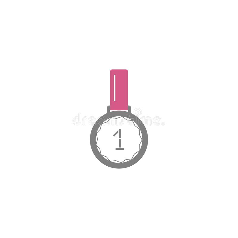Icono plano del estilo del vector - cinta y medalla del primer ganador del lugar - para el logotipo, icono, cartel, bandera, acon stock de ilustración