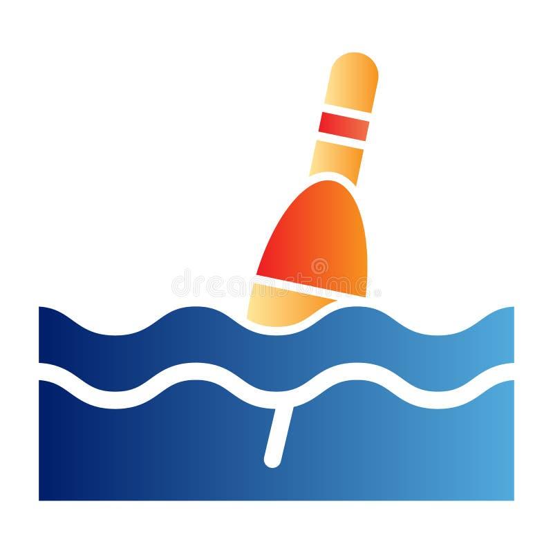 Icono plano del flotador Iconos del color del Bobber en estilo plano de moda Diseño del estilo de la pendiente que pesca con caña ilustración del vector