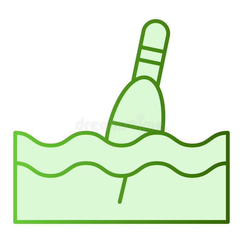 Icono plano del flotador Iconos del verde del Bobber en estilo plano de moda Diseño del estilo de la pendiente que pesca con caña ilustración del vector