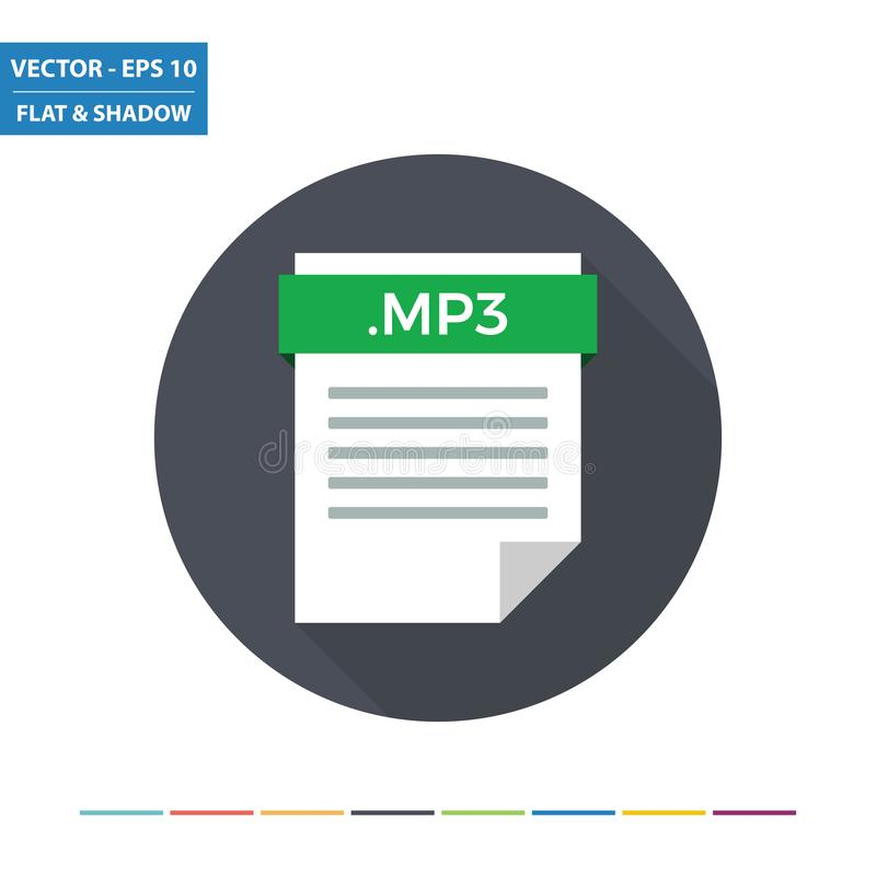 Icono plano del formato de archivo audio del documento MP3 ilustración del vector