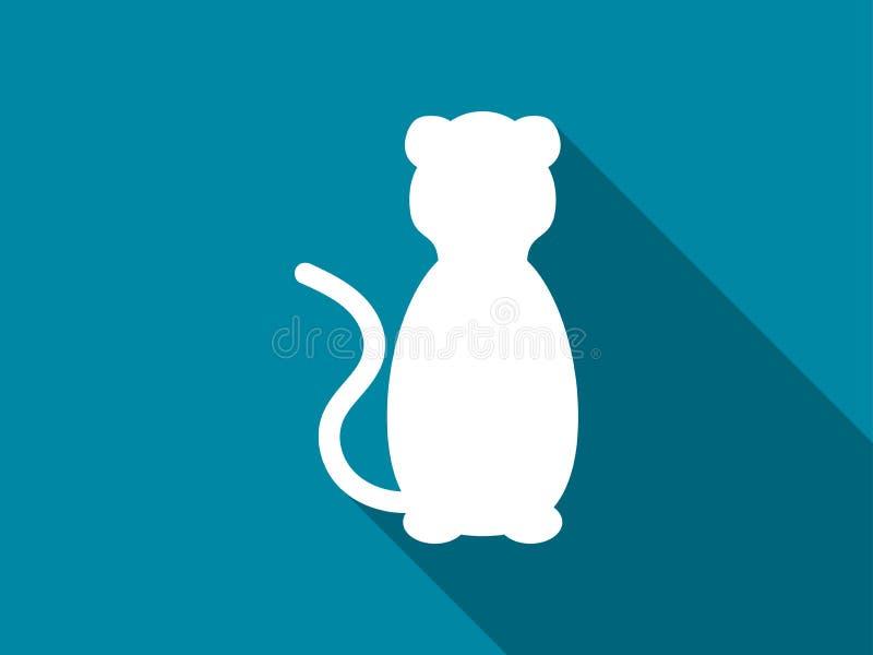 Icono plano del gato con la sombra larga León Vector ilustración del vector