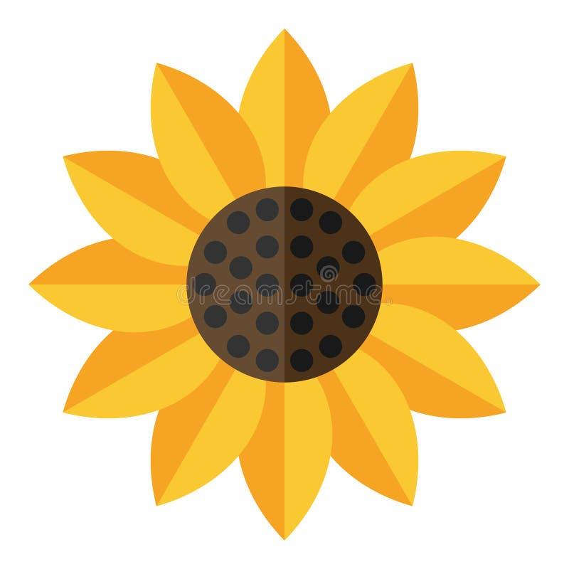 Icono plano del girasol amarillo aislado en blanco libre illustration