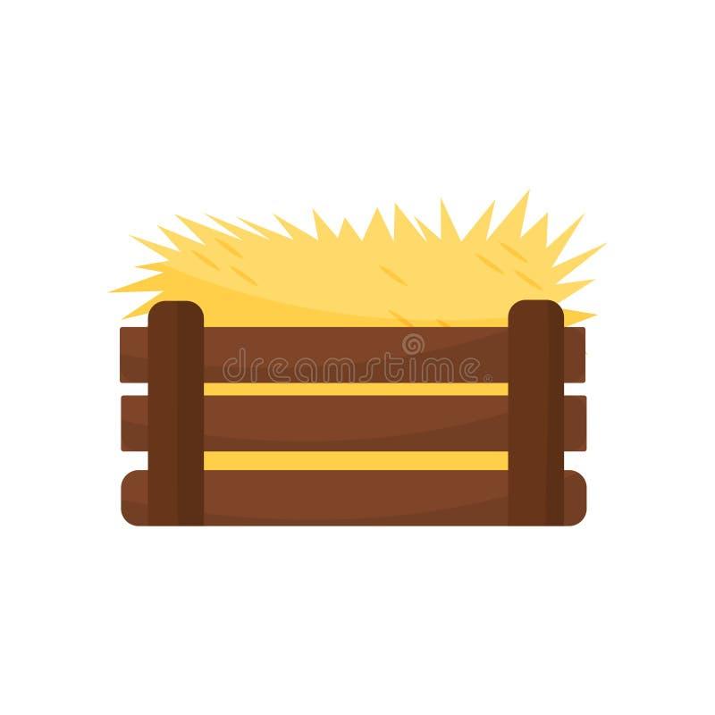 Icono plano del heno amarillo de la jerarquía vacía del pollo en caja de madera marrón, diseño colorido del vector del vector ilustración del vector