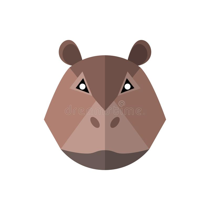 Icono plano del hipopótamo del estilo en un fondo blanco stock de ilustración