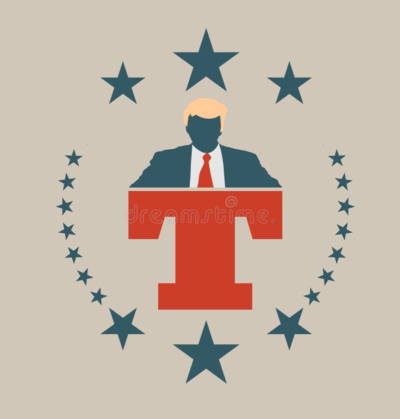 Icono plano del hombre con la cita de Donald Trump libre illustration