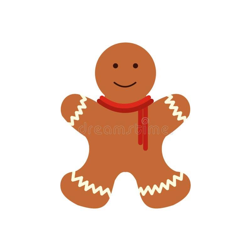 Icono plano del hombre de pan de jengibre de la Navidad libre illustration