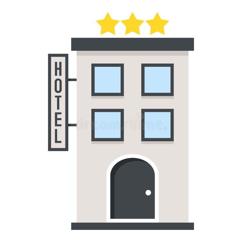 Icono plano del hotel de tres estrellas aislado en blanco ilustración del vector