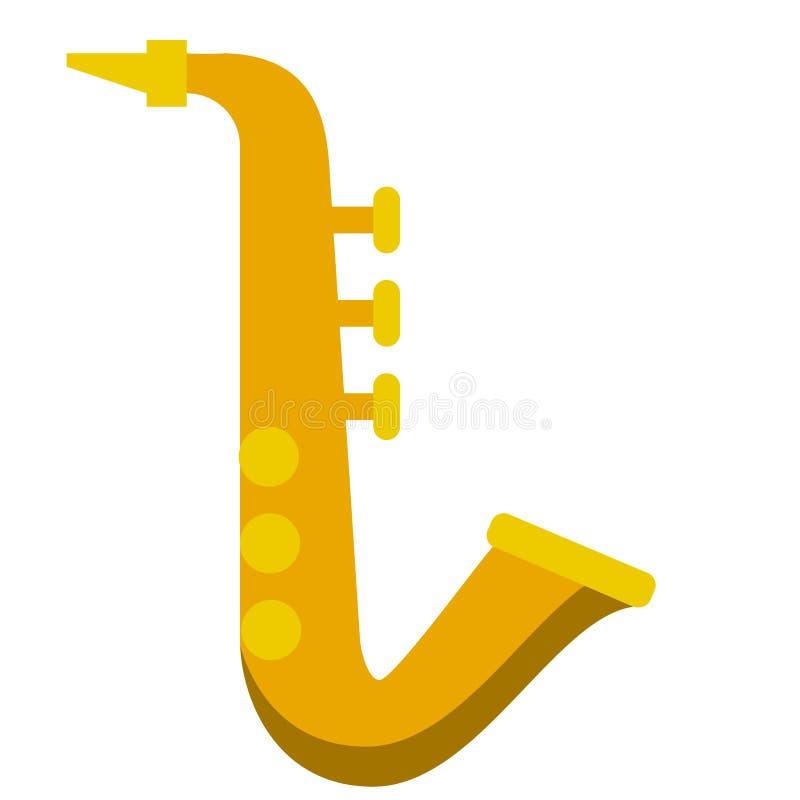 Icono plano del instrumento musical del saxofón ilustración del vector