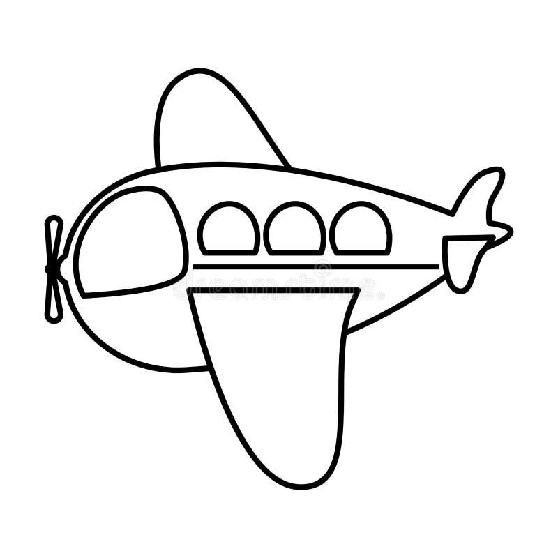 Icono plano del juguete lateral del aeroplano de la silueta ilustración del vector