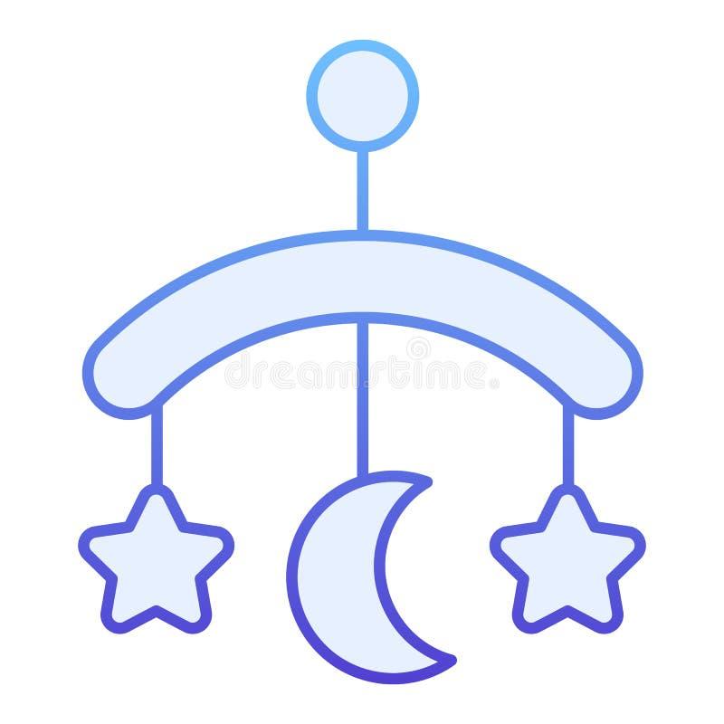 Icono plano del juguete del pesebre del bebé Iconos azules colgantes del juguete en estilo plano de moda Diseño del estilo de la  libre illustration