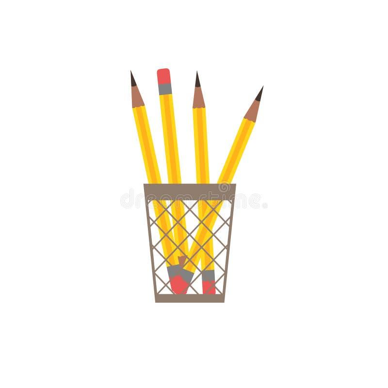 Icono plano del lápiz stock de ilustración