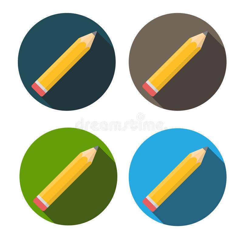 Icono plano del lápiz amarillo con vector largo de la sombra stock de ilustración
