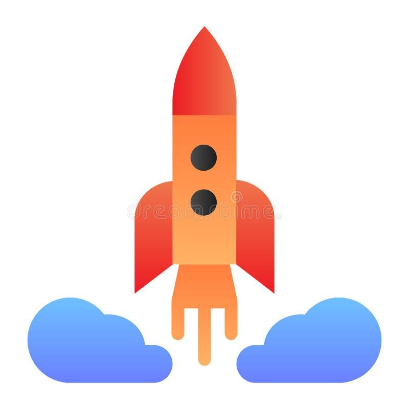 Icono plano del lanzamiento de Rocket Iconos del color de la nave espacial en estilo plano de moda Diseño del estilo de la pendie ilustración del vector