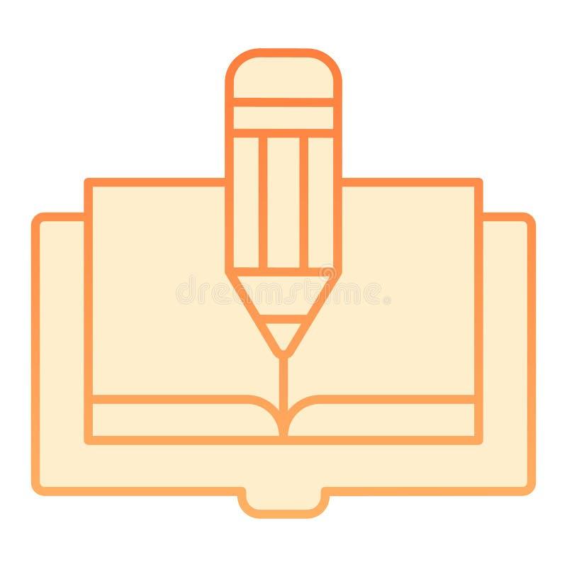 Icono plano del libro y del lápiz El libro corrige iconos anaranjados en estilo plano de moda Diseño del estilo de la pendiente d ilustración del vector