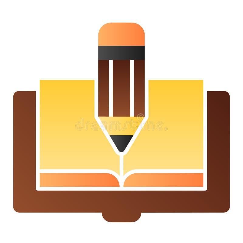 Icono plano del libro y del lápiz El libro corrige iconos del color en estilo plano de moda Diseño del estilo de la pendiente del stock de ilustración