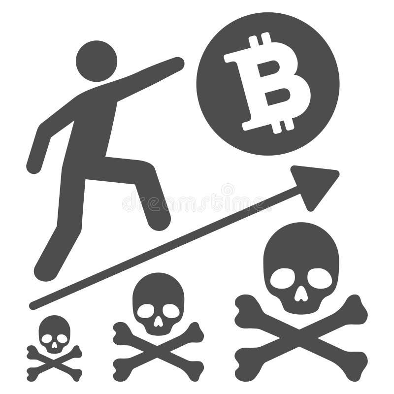 Icono plano del logro mortal de Bitcoin libre illustration