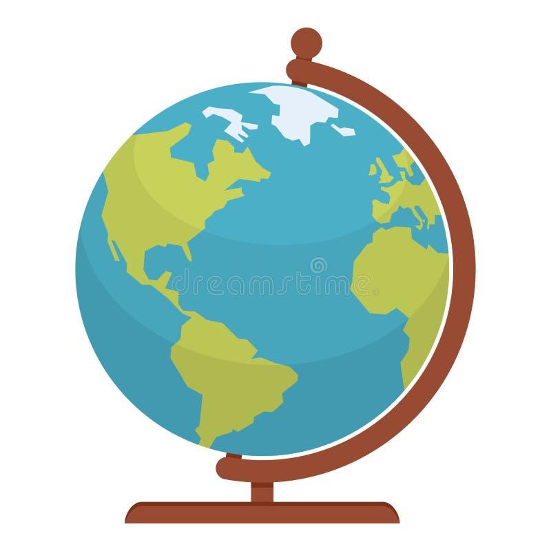 Icono plano del mapa del mundo del globo aislado en blanco ilustración del vector