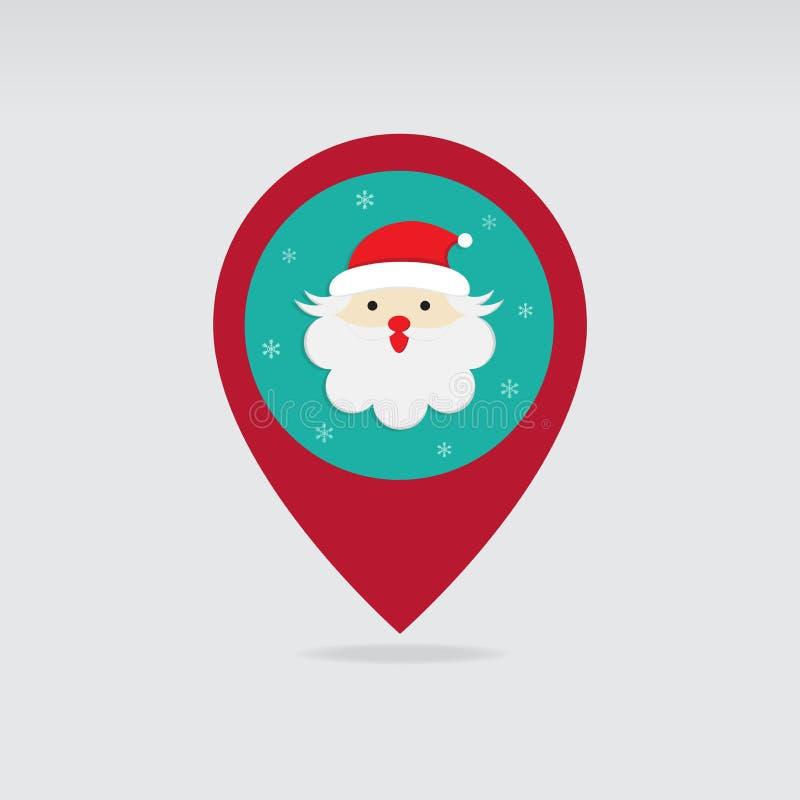Icono plano del mapa del perno de la Navidad de Papá Noel stock de ilustración