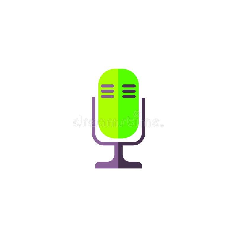 Icono plano del mic aislado en el fondo blanco libre illustration