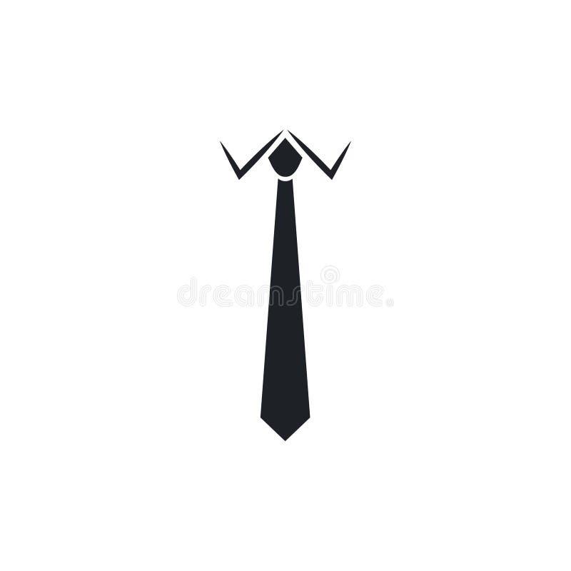 Icono plano del negro del lazo en el fondo blanco Símbolo de la corbata y del paño del cuello stock de ilustración