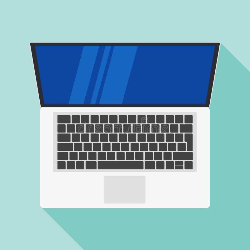 Icono plano del ordenador portátil Símbolo del ordenador Ilustración del vector Icono plano del vector del diseño del ordenador p libre illustration
