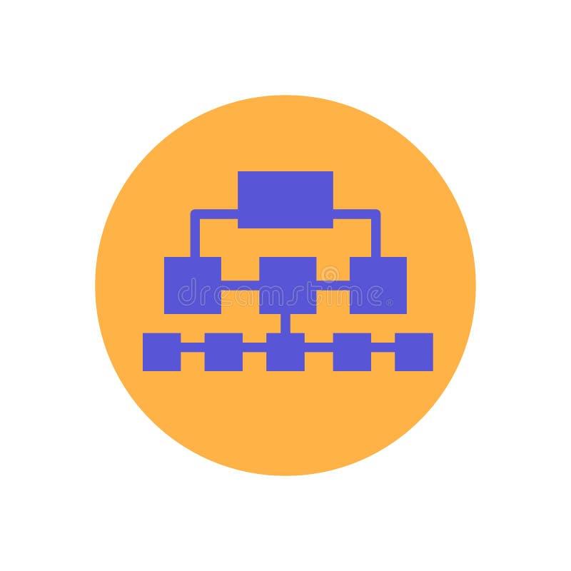 Icono plano del organigrama Botón colorido redondo, muestra circular del vector de Sitemap, ejemplo del logotipo stock de ilustración