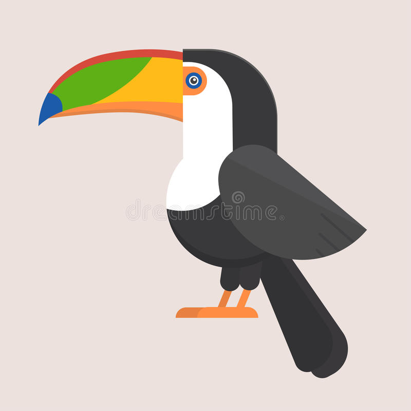 Icono plano del pájaro del tucán libre illustration