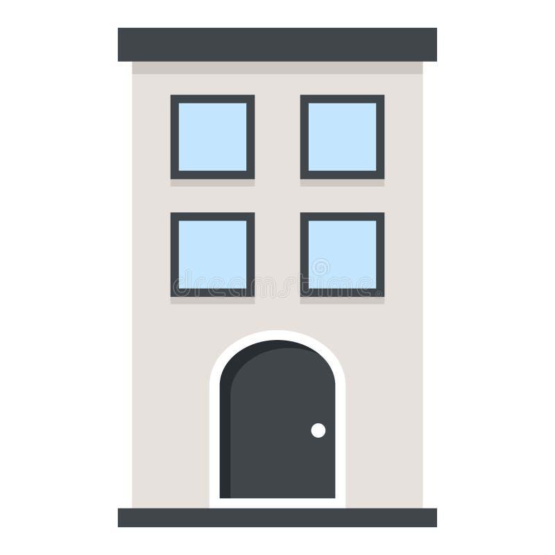 Icono plano del pequeño edificio aislado en blanco ilustración del vector