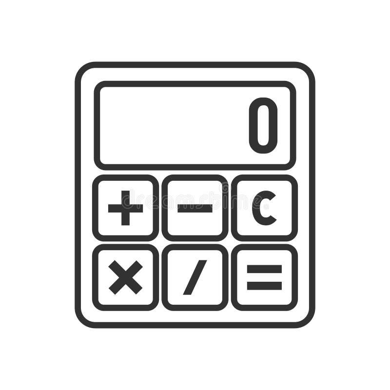 Icono plano del pequeño esquema de la calculadora en blanco ilustración del vector