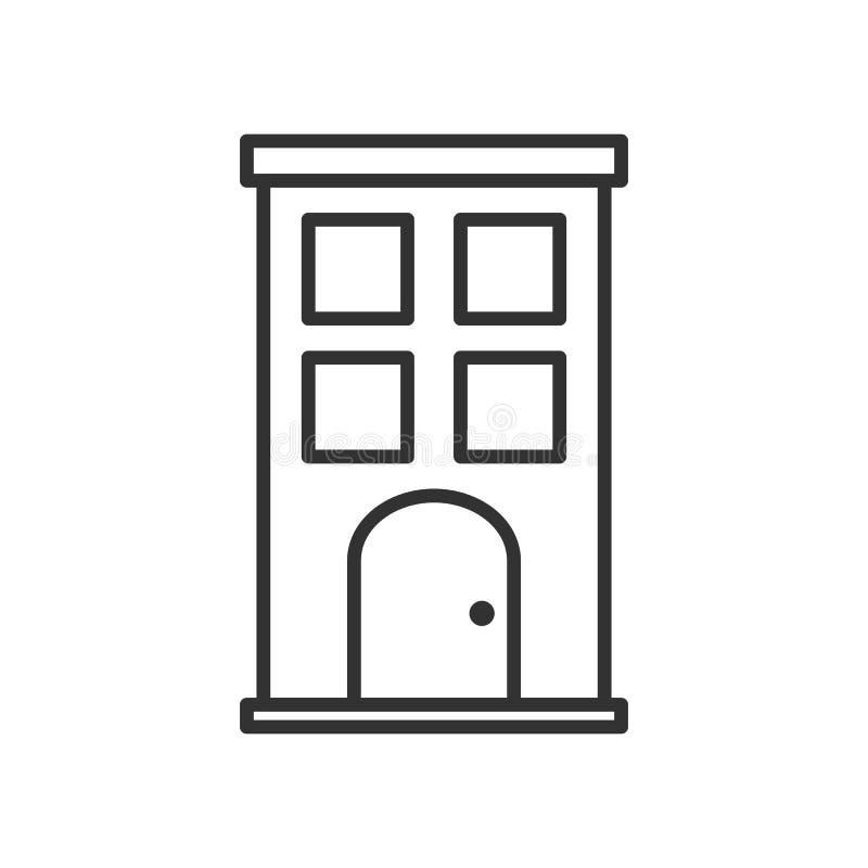 Icono plano del pequeño esquema del edificio en blanco ilustración del vector