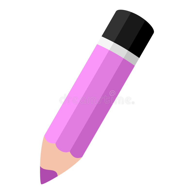 Icono plano del pequeño lápiz rosado aislado en blanco ilustración del vector